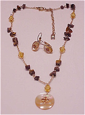 Anne Klein Tiger Eye And Crystal Necklace And Pierced Earrings Set
