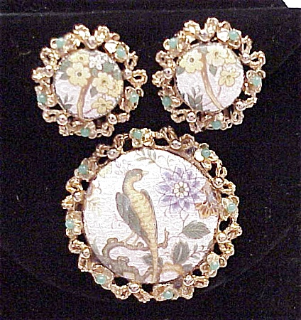 VINTAGE COSTUME JEWELRY - GUILLOCHE ENAMEL BROOCH & EARRINGS SIGNED LJM (Image1)