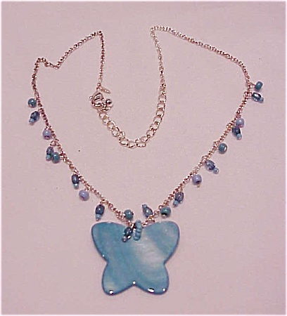 Avon Blue Mother Of Pearl Butterly Choker Necklace