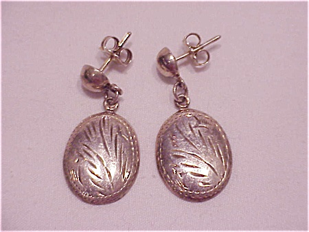 Dangling Sterling Silver Pierced Earrings With Etched Design