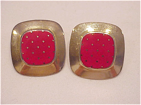 Laurel Burch Red Enamel With Gold Dots Mastriano Clip Earrings