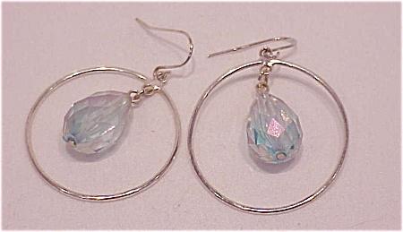 DANGLING SILVER HOOP WITH AURORA BOREALIS CRYSTAL PIERCED EARRINGS (Image1)