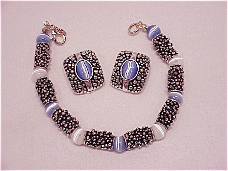 Premier Designs Moonstone And Silver Tone Bracelet And Clip Earrings