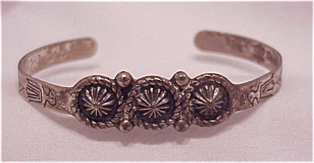 Vintage Sanford Child's Native American Silver Cuff Bracelet