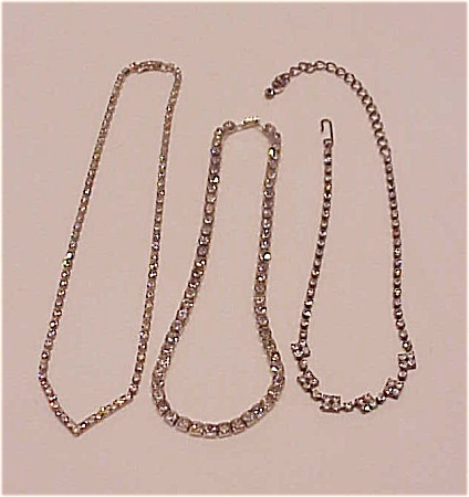 VINTAGE COSTUME JEWELRY - 3 RHINESTONE CHOKER NECKLACES (Image1)