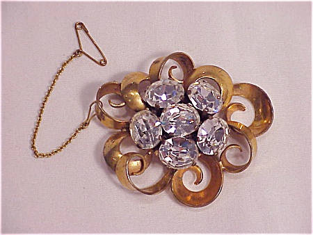 ANTIQUE VICTORIAN OR EDWARDIAN PASTE RHINESTONE BROOCH SIGNED FRANCE (Image1)