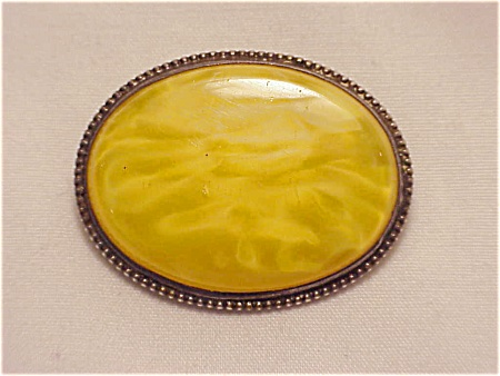 Antique Victorian Edwardian Sterling Silver Yellow Glass Brooch