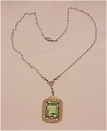 VINTAGE COSTUME JEWELRY - VINTAGE ART DECO FILIGREE & RHINESTONE NECKLACE SIGNED PSCo (Image1)
