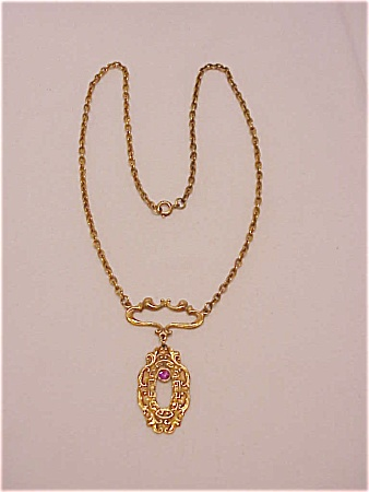 VINTAGE ART NOUVEAU LAVALIER NECKLACE WITH PINK RHINESTONE (Image1)