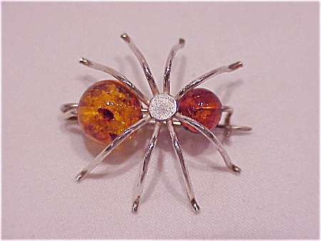 HANDMADE AMBER BEAD & POSSIBLE STERLING SILVER BUG INSECT BROOCH (Image1)