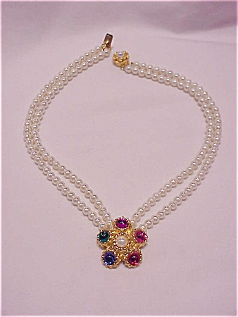 Pearl Necklace With Multicolored Cabachon Pendant And Silver Clasp