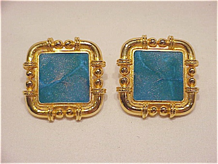 BEREBI LARGE GOLD TONE AND BLUE GREEN ENAMEL PIERCED EARRINGS (Image1)