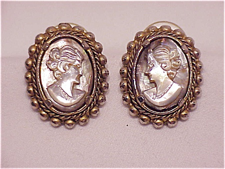 Vintage Carved Mother Of Pearl Cameo Pierced Earrings
