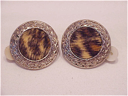Vintage Costume Jewelry - Silver Tone Clip Earrings W/ith Fuzzy Fake Fur Jungle Print Centers