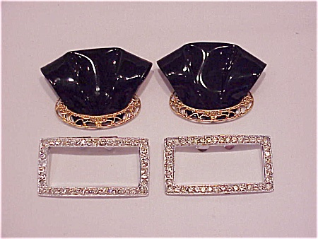 Vintage Costume Jewelry - 2 Pairs Of Shoe Clips - 1 Rhinestone, 1 Black Patent
