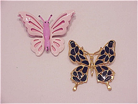 Vintage Costume Jewelry - 2 Enamel Butterfly Brooches - Pink On Tin, Navy Blue