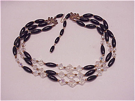 Costume Jewelry - Vintage 3 Strand Crystal & Black Bead Choker Necklace