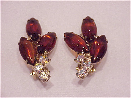 Vintage Costume Jewelry - Juliana Amber Navette & Aurora Borealis Rhinestone Clip Earrings