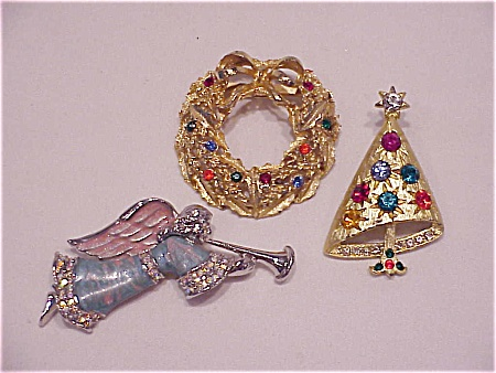 Vintage Costume Jewelry - 3 Rhinestone Christmas Brooches - Tree, Wreath, Angel