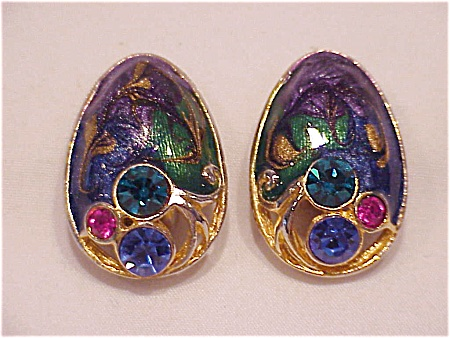 VINTAGE COSTUME JEWELRY - GOLD TONE, ENAMEL & PINK, BLUE, GREEN RHINESTONE CLIP EARRINGS (Image1)