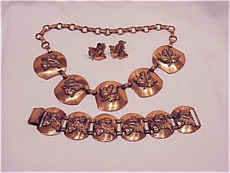 Vintage Copper Necklace, Bracelet And Screwback Earrings Set