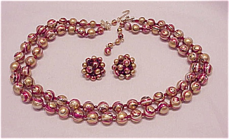 Vintage Japan Pink, Gold & Black Swirl Bead Necklace And Clip Earrings