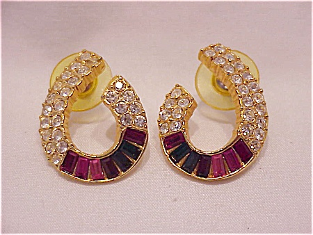 MULTICOLORED BAGUETTE RHINESTONE PIERCED EARRINGS SIGNED ROMAN (Image1)