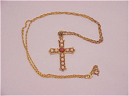 Sterling Silver Vermeil Ivory And Coral Cabachon Cross Necklace
