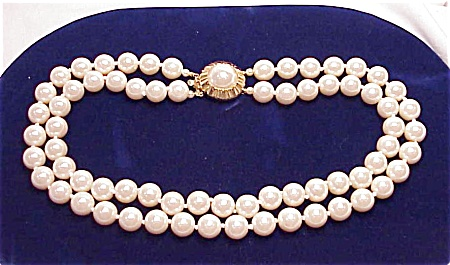 Vintage Costume Jewelry - Double Strand Pearl Choker Necklace