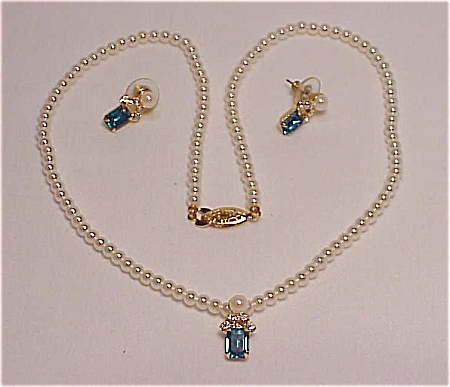 COSTUME JEWELRY - PEARL NECKLACE WITH BLUE RHINESTONE SLIDE AND MATCHING PIERCED EARRINGS (Image1)