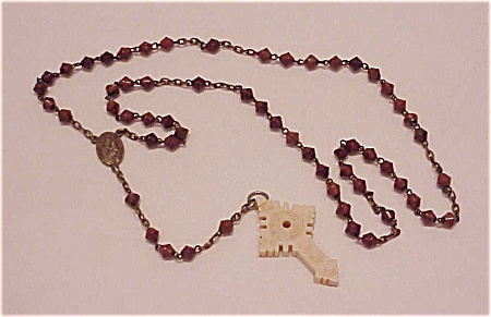 VINTAGE BROWN STONE OR GLASS BEAD ROSARY SIGNED FRANCE - MISSING STANHOPE (Image1)