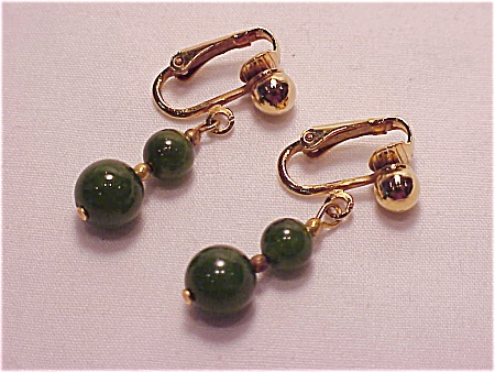 Vintage Clip Earrings With Dangling Jade Beads