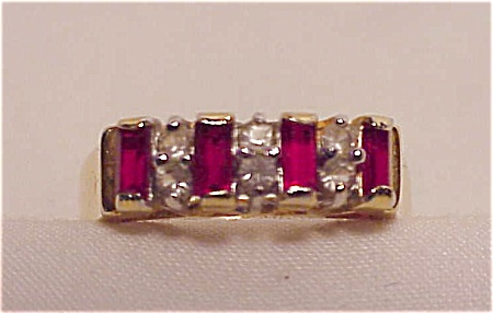 Costume Jewelry - Gold Tone Faux Ruby & Diamond Ring Signed Edco