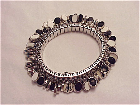 Vintage Stretch Bracelet With Black And White Enamel Dangles