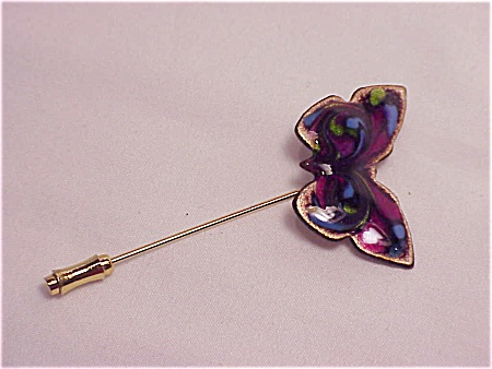 Vintage Enamel On Copper Butterly Stickpin Stick Pin