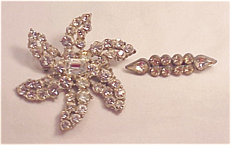 2 Vintage Clear Rhinestone Pot Metal Brooch Brooches