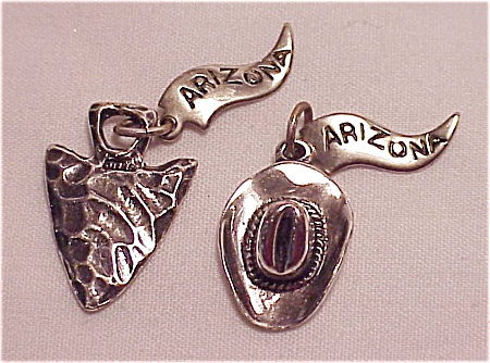 2 Arizona Souvenir Travel Sterling Silver Charms Cowboy Hat, Arrowhead