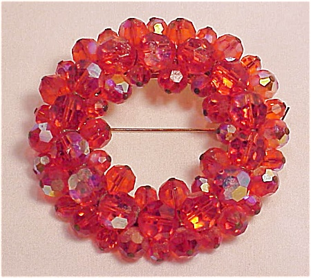 COSTUME JEWELRY - VINTAGE DARK ORANGE AURORA BOREALIS CRYSTAL BROOCH - UNSIGNED WEISS (Image1)
