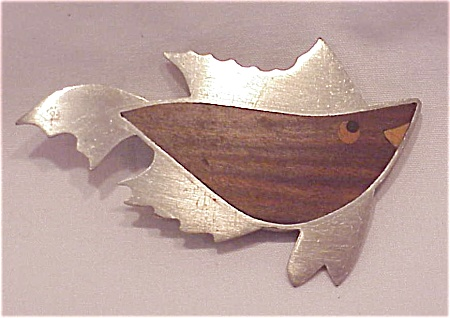 Arts & Crafts Silver Chrome Wood Fish Brooch Signed A. Ramsay