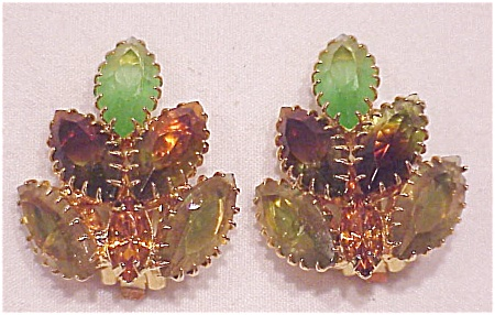 VINTAGE COSTUME JEWELRY - JULIANA GREEN, BROWN AND AMBER RHINESTONE CLIP EARRINGS (Image1)