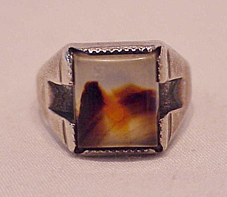 NATIVE AMERICAN STERLING SILVER & AGATE RING SIGNED WM OR FM OR TM (Image1)