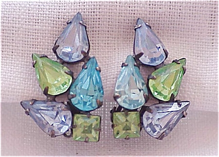 Vintage Blue And Green Rhinestone Clip Earrings