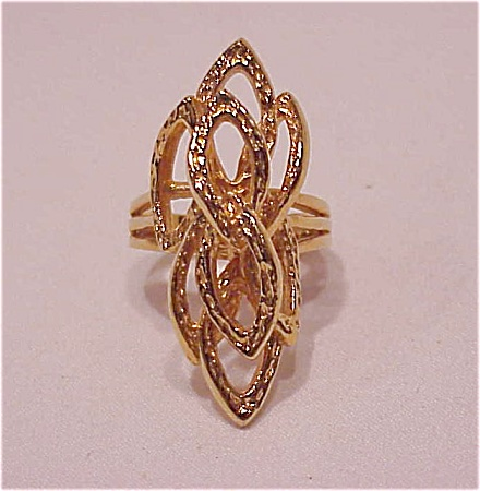 18K GOLD ELECTROPLATE LONG ABSTRACT DESIGN FASHION RING SIZE 8