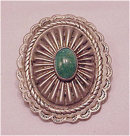 NATIVE AMERICAN POSSIBLE STERLING SILVER TURQUOISE STAMPED BROOCH (Image1)