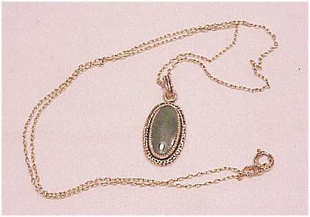 Vintage 12k Gold Filled Necklace With Jade Pendant