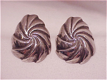 Sterling Silver Swirl Pierced Earrings