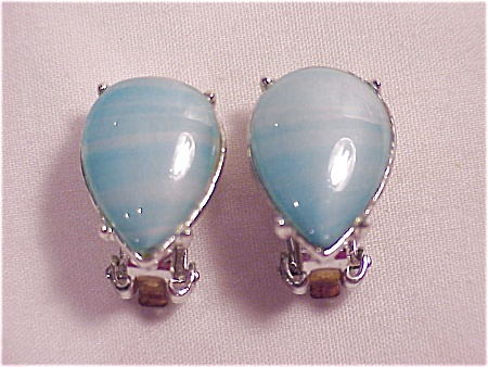 Vintage Silver Tone Blue Glass Cabachon Rhinestone Clip Earrings
