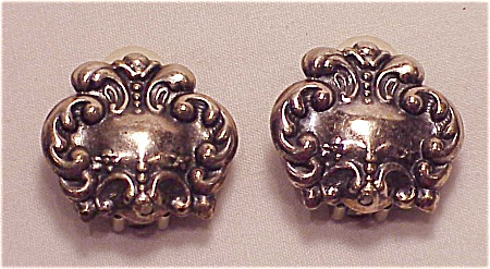 COSTUME JEWELRY - ART NOUVEAU STYLE POSSIBLE STERLING SILVER CLIP EARRINGS (Image1)