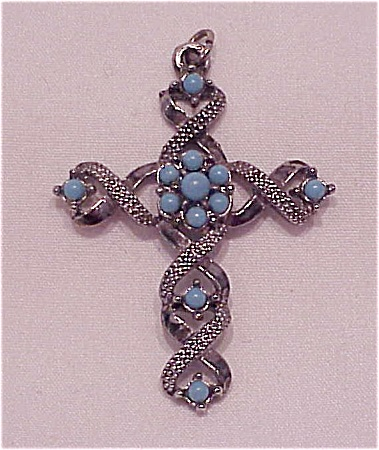 Vintage Silver Tone And Faux Turquoise Cross Pendant