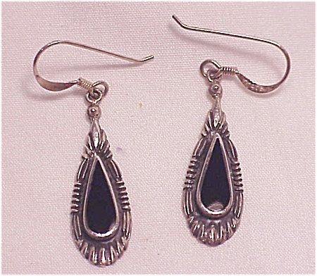 Sterling Silver & Black Onyx Dangling Pierced Earrings